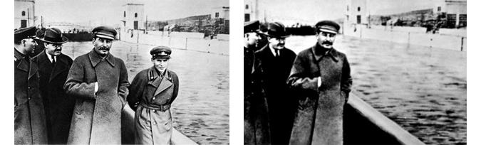Kliment Voroshilov, Vyacheslav Molotov, Stalin and Nikolai Yezhov at the shore of the Moskwa-Wolga-Channel