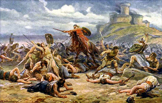 The Maiden's War, with castle Děvín in the background