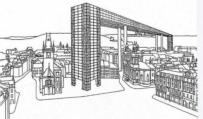 Milan Knížák's proposal of La-Défense-type arch