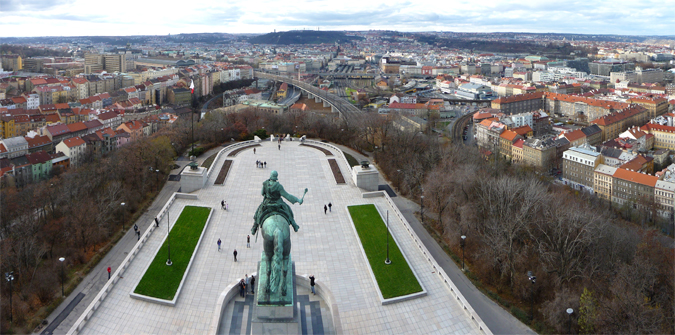 View from Vítkov Hill - Žižkov on the left hand side