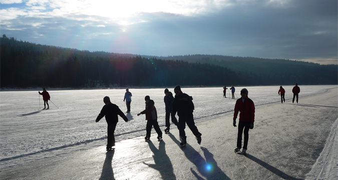 Skating track on Lipno Reservoir