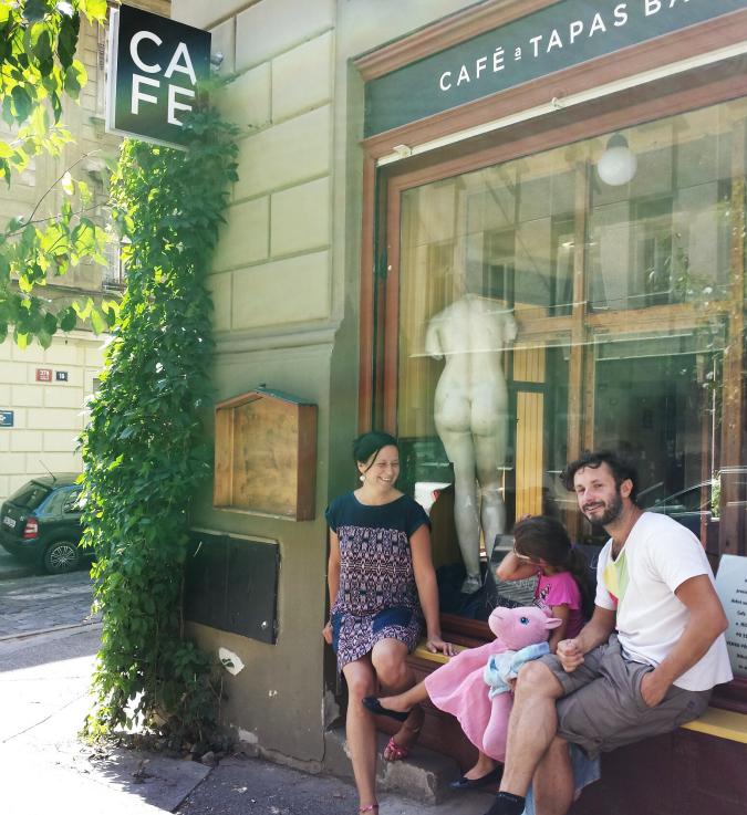 Cafe Sladkovský owner Kateřina McCreary and family