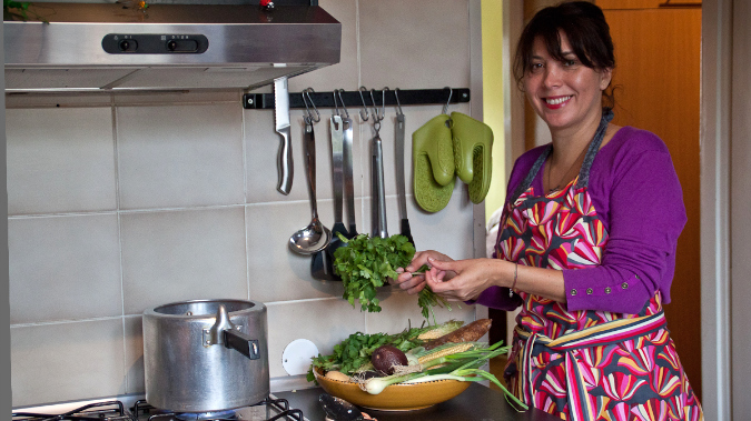 Karina at home in her kitchen