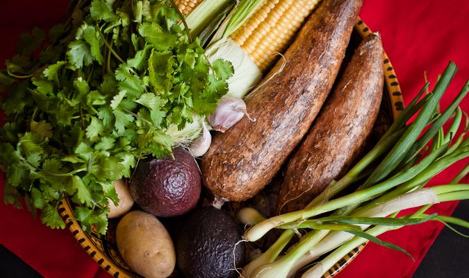 Potatoes, cilantro, garlic, corn, manioc, green onion, and avocado