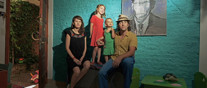 Vojtěch Vlk, Jitka and Julian Teubal with daughters, Buenos Aires, 2013