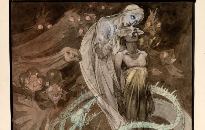 Alfons Mucha, figural scene, 1899