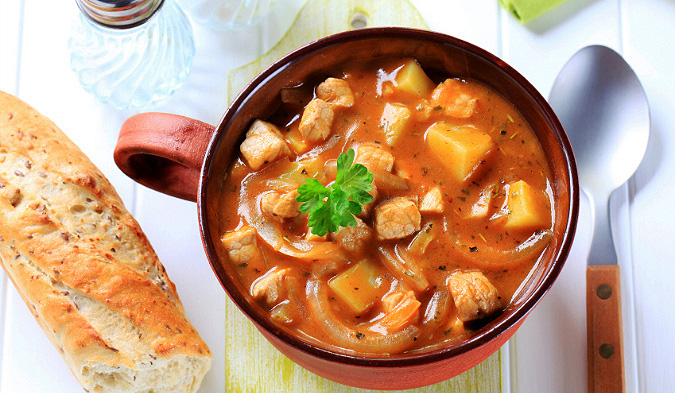 Add potatoes to leftovers for a goulash soup
