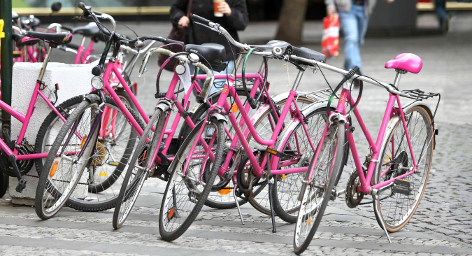 Borrow a pink bike!