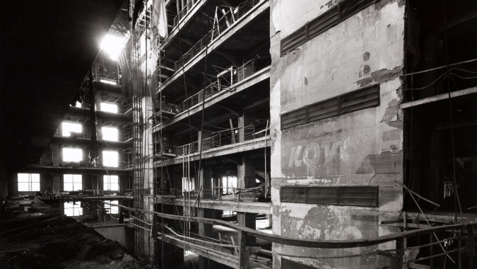 Small hall after fire, 1974