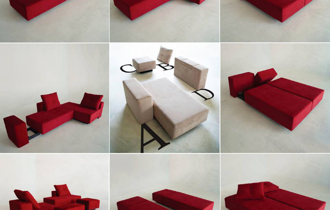 Feydom's building-block bed, chairs, couches