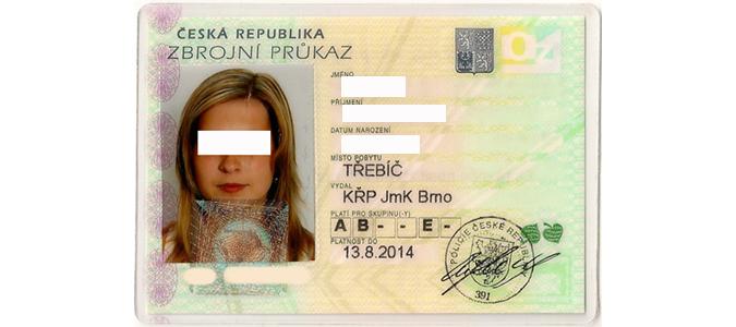 Example of a Czech gun license