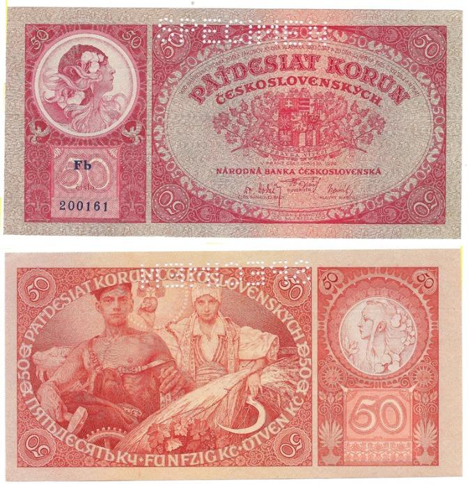Fifty Korun, 1929, Alfons Mucha / www.cnb.cz