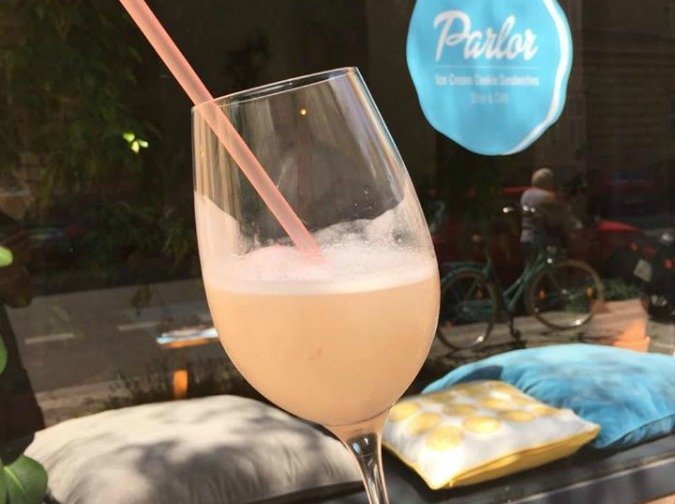 Prosecco and sorbet at Parlor