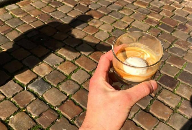 Espresso, vanilla ice cream, and rum at Onesip coffee