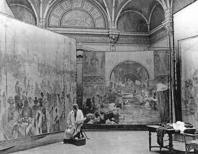 Mucha at work on The Slav Epic / Photo: Wiki Commons