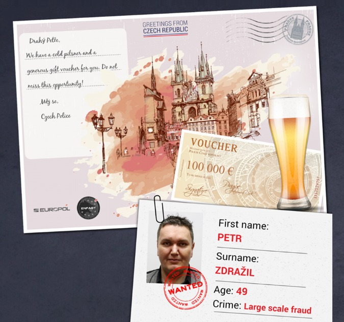 Most Wanted Czech Fugitive Features In Europol Postcard Campaign