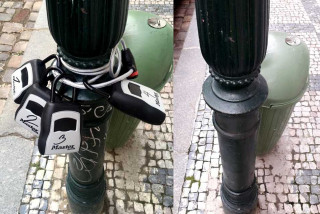 Prague is removing Airbnb key boxes illegally chained to light poles