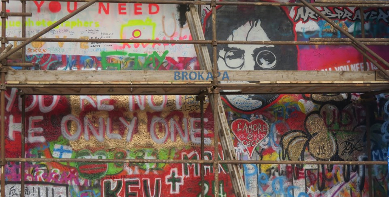 Wall Is Over: Prague's Lennon Wall covered by tarps, will re-emerge as a gallery for professional artists