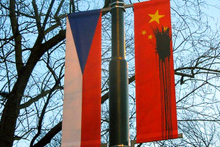 Defacement of Chinese flag in 2016 during Xi Jinping's visit to Prague via Raymond Johnston