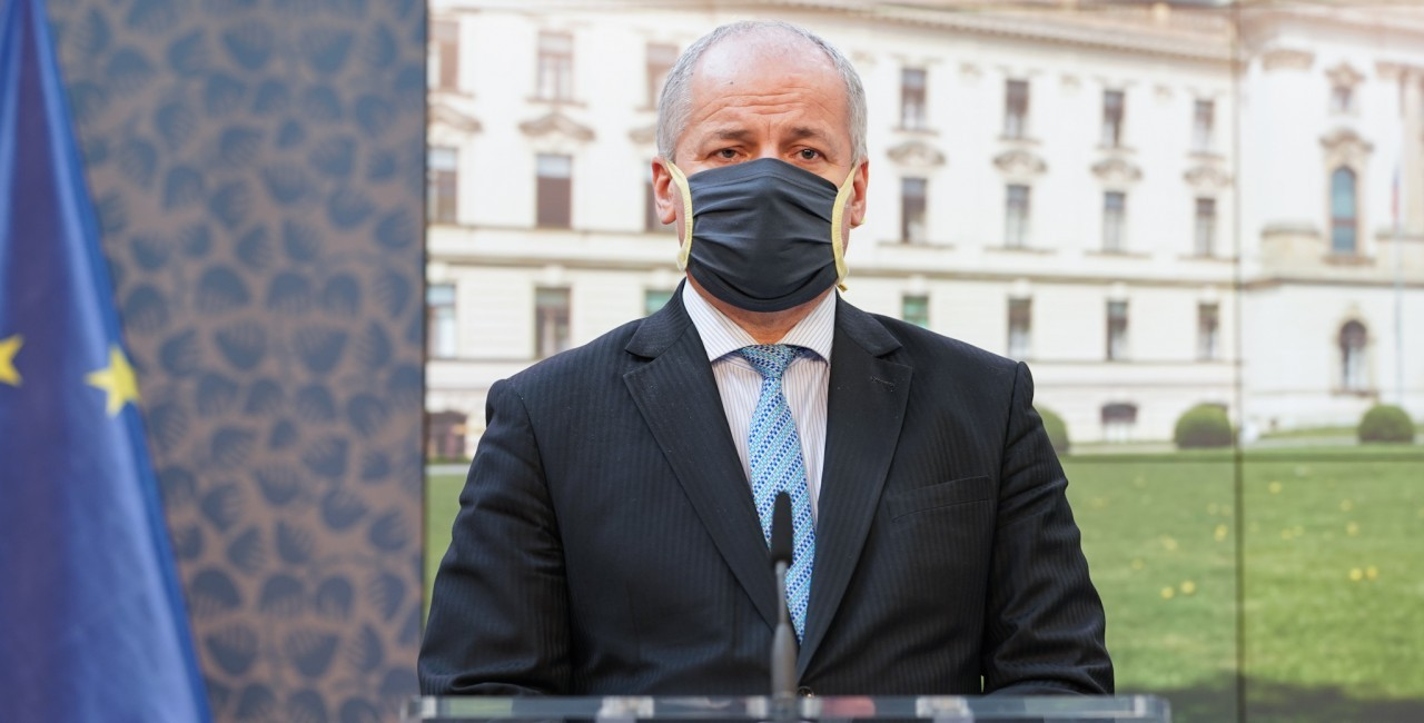 Czech Health Minister Roman Prymula, then Deputy Health Minister, at a press conference on April 9 via vlada.cz