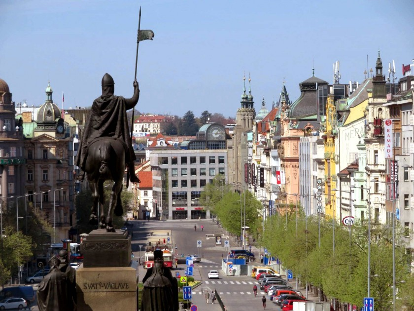 St Wenceslas looks over Wenceslas Square / via Raymond Johnston