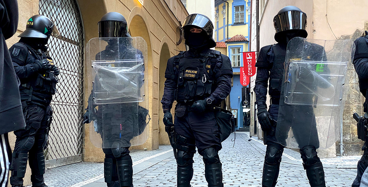 Riot police in front of Prague's Old Town Square via Jason Pirodsky