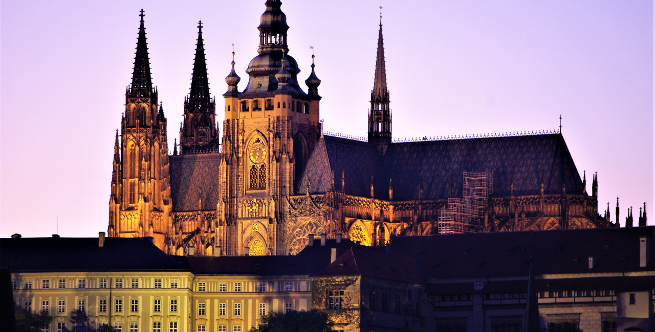 Prague (Hradcany) Castle and St Vitus Cathedral taken from the opposite side of the riverbank on the Vltava via iStock /