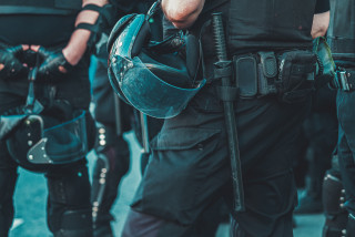 police officers in full combat uniform, protection