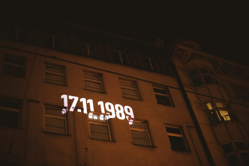 Building lit for the 30th anniversary of the Velvet Revolution.