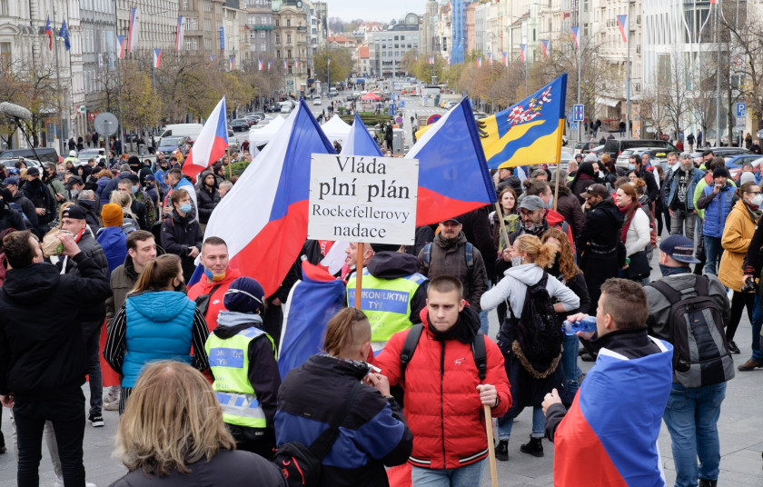 Protesters gathered in Prague's Wenceslas Square before marching through the streets. (photo: James Fassinger - Expats.cz)