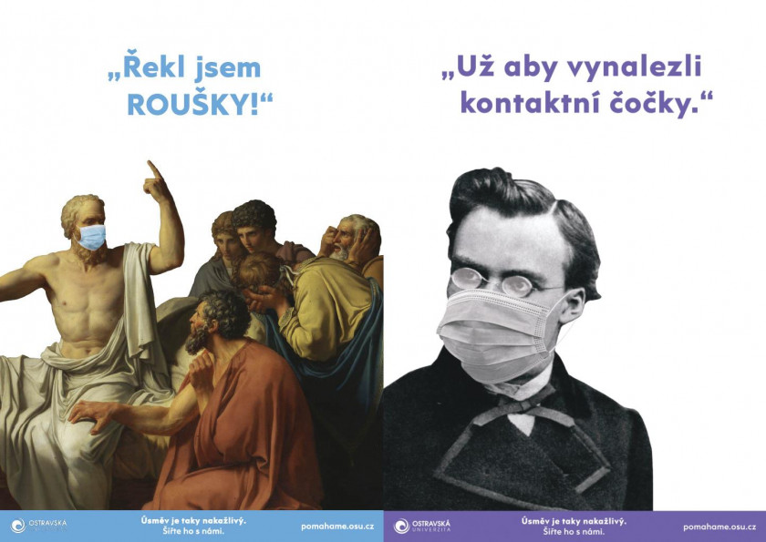 Two posters from the Helping with a Smile campaign. (source: Barbora Hlavicová, Ostrava University)