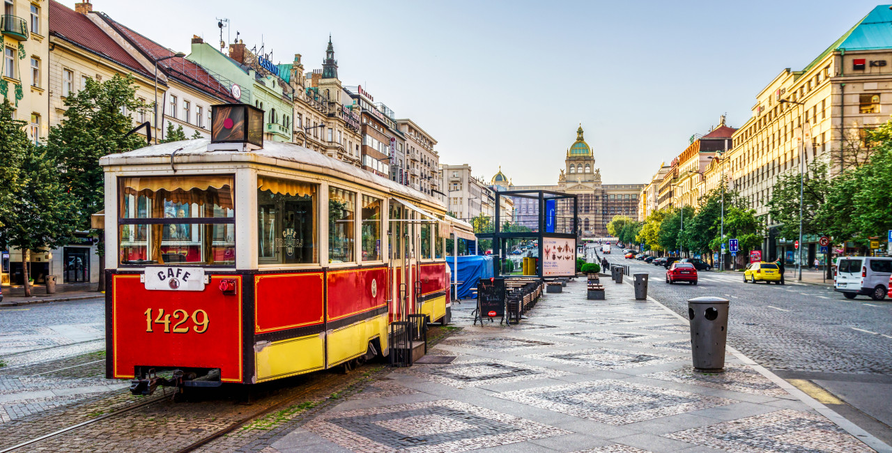 A red tram, now a cafe, on Wenceslas Square in Prague. Photo: Eloi_Omella/iStock