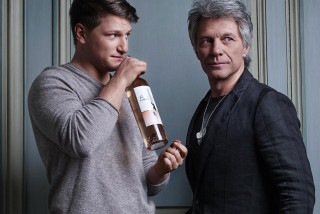 Jon Bon Jovi, son Jesse, and a bottle of Hampton Water