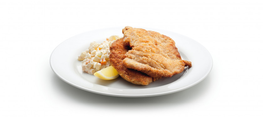 Fried schnitzel with potato salad is a Czech classic