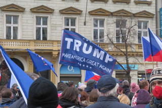 Pro-Trump protesters in Prague. Photo by Raymond Johnston