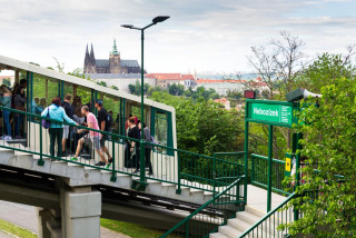 The cable car on Prague's Petřín Hill.