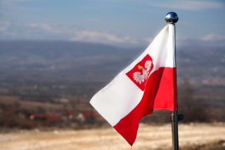 Polish flag with coat of arms via iStock / JeanRee