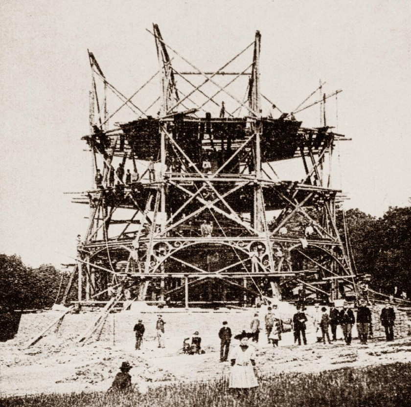 Petřín Lookout Tower on May 27,1891. (Public domain)