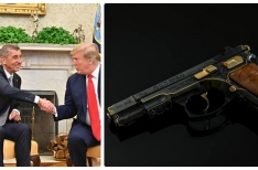 Czech PM Andrej Babiš gifts Donald Trump an engraved Czech handgun